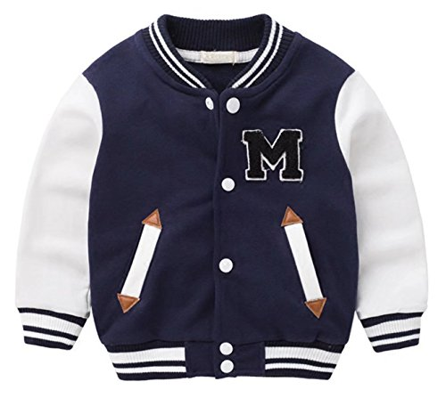 Betusline Unisex Kids Baby Girls Boys Varsity Bomber Baseball Jacket Sweatshirts,Navy Blue,US 5