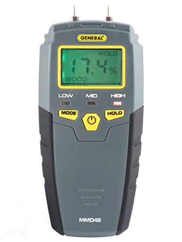 General Tools MMD4E Digital Moisture Meter, Water Leak Detector, Moisture Tester, Pin Type, Backlit LCD Display With Audible and Visual High-Medium-Low Moisture Content Alerts ()