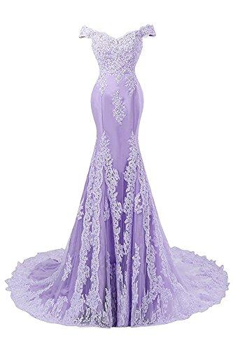 Novia de Baile JAEDEN Vestido Vestidos Mujer Satín Largo Sirena Lila Encaje Vestido Noche de de a1qfwvqP