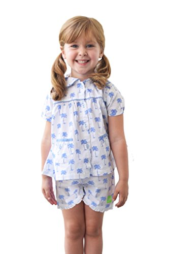 Palm Sunday Set (Sant and Abel Girls Palm Sunday Blue PJ Set Two Blue)