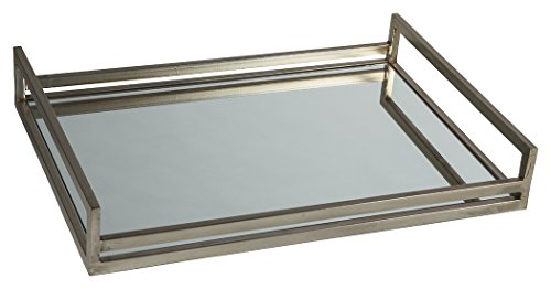 Signature Design by Ashley Ashley A2000255 Derex Tray, Silver Finish (Coffee Silver Table Tray)
