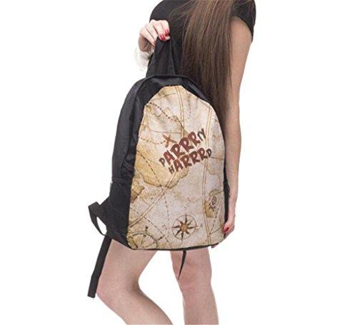 SHFANG Doppelter Schulterrucksack Gedruckte alte Karte Student Schultasche Reise Schule Einkaufen Mädchen 44 * 27 * 14cm