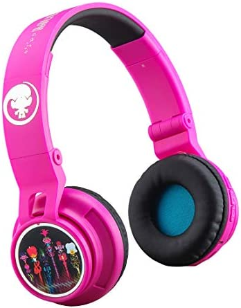 New Trolls World Tour Wireless Bluetooth Kids Headphones Portable with Microphone, Volume Reduced to Protect Hearing Rechargeable Battery, Adjustable Kids Headband for School Travel
