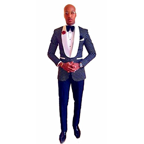 Silver Moonlight One Button Polka Dot Mens Suits Slim Fit Tuxedos 2 Piece Sets