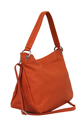Ambra Moda Sac à main en cuir véritable Sac Shopper bandoulière GL002 Orange