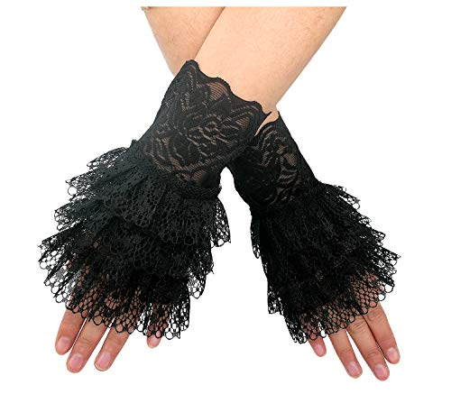 L'VOW Women's Gothic Lace Mesh Stretch Wrist Cuffs Bracelets For Wedding Party Pack of 2 (X01-Black)