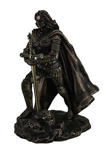 Resin Statues King Arthur Standing Pulling The Sword In The Stone Bronze Finish Statue 5.25 X 8 X 5 Inches Bronze