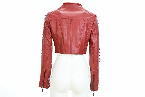 GIO CELLINI faux de las mujeres chaqueta de cuero corta E62 ROJO Rosso