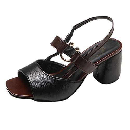 Party Superficiale Alto Col Sottile Pompa Tacco Court Donna Scarpe Estate Tacchi Shoes Alti Toe Peep Sandali Pelle Di Nero Artificiale XRgqwZzZd