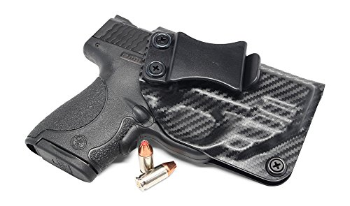 Concealment Express IWB KYDEX Holster: fits S&W M&P Shield 9/40 w/RED Crimson Trace LASERGUARD ONLY (LG-489) - Cstm Fit - US Made - IWB - Adj. Cant/Retention (CF BLK, Right)