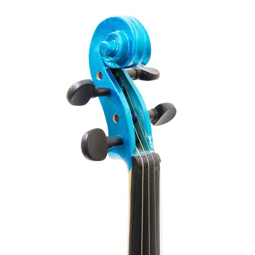 Cecilio CVN-Blue Ebony Fitted Solid Wood Violin with Tuner and Lesson Book - Metallic Blue, Size 4/4 (Full Size)