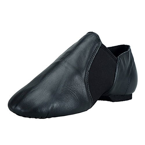 BAYSA Girls Jazz Shoe Leather Spandex Gore Slip-on Jazz Shoes(Toddler/Little Kid) BLK 3.5M