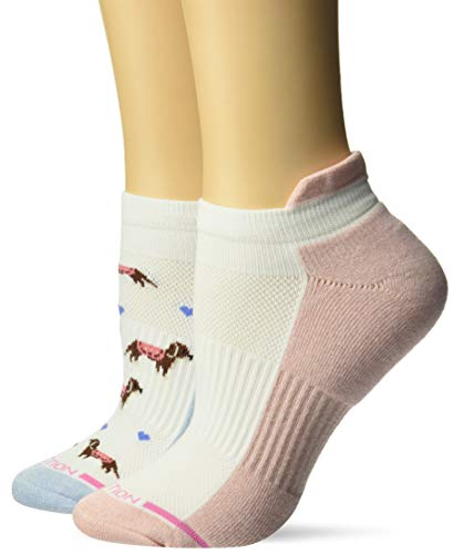 (Dr. Motion Women's 2PK Compression Low Cut Socks, blue/salmon/White dachshund dogs pattern, ONE SIZE)