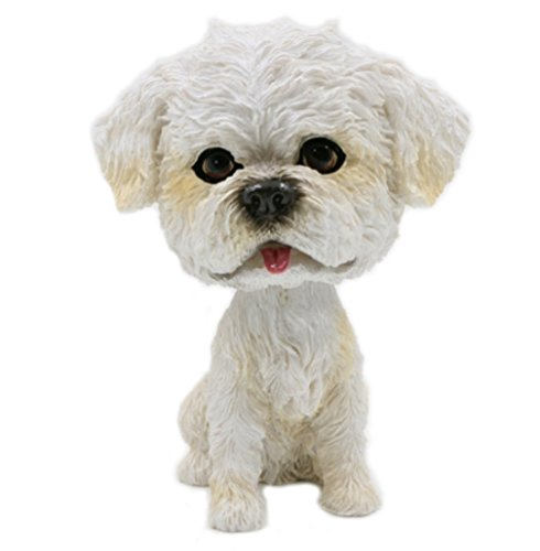 OZUKO Bobblehead Mini Puppy Dog Figurine Bobbling Heads Car Dashboard Decoration Nodding Shaking Head Toys for Kids Room (Bichon)