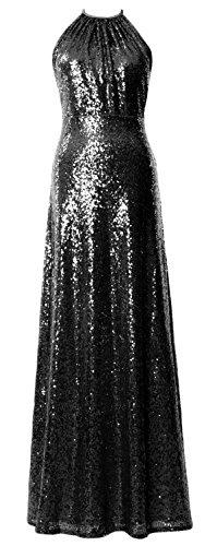 MACloth Women Halter Sequin Long Bridesmaid Dress Wedding Party Formal Gown Negro