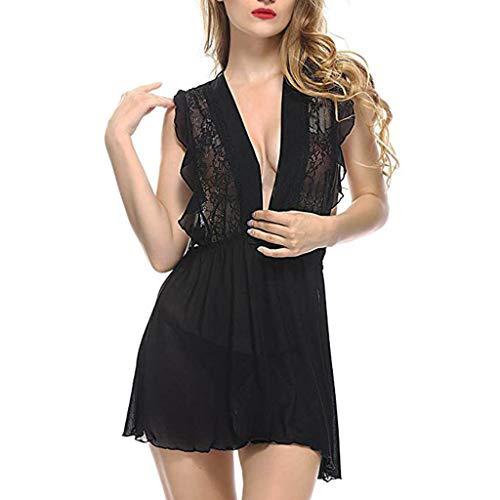 zi Babydoll Erotica Mujer Conjunto Para Negro Lencería Perspectiva Vestido Sleepwear Sexy Encaje De lenceria Qingxia RdaqFF