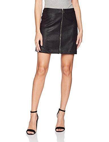 kensie Women's Reptile Suede Skirt, Black, S