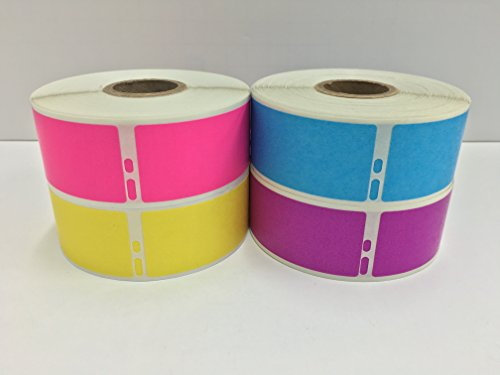"4 Rolls of Assorted Colors 1-1/8""x3-1/2"" Dymo Compatible 30252 LabelWriter Address 350 Labels P/R (1 Roll Each PK,BL,YL,PU)"