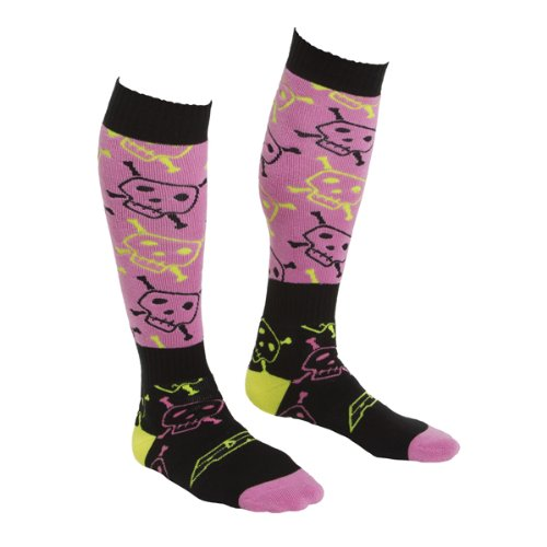 AXO MX Skully Print Women's Socks, (Pink, Large) by AXO