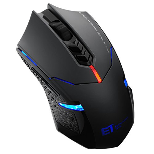 Pictek Wireless Gaming Mouse, 2.4G Computer Mouse Wireless Mice with Quiet Button Design, 2400DPI, 7-Button for Laptop Notebook PC Laptop Computer, Black