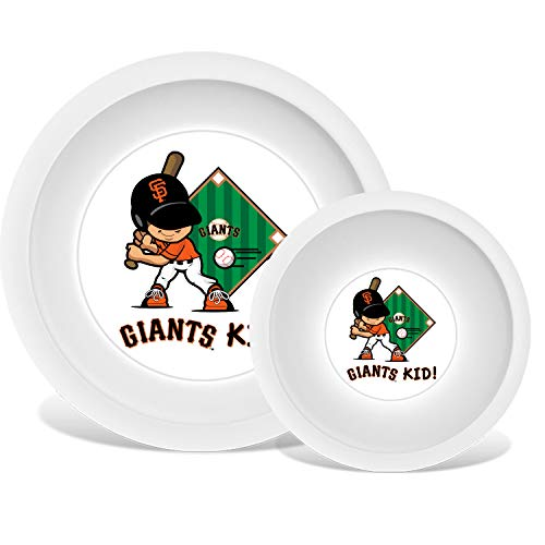 Plate & Bowl Set | Kids Small Plastic Tumblers, Snack Bowls & Snack Baby Set Kids Flatware Set, Kids Dishes Set are Reusable, Microwave - Dishwasher Safe | San Francisco Giants ()