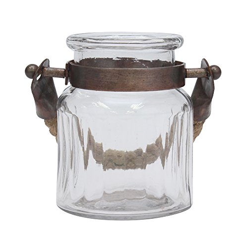 Stonebriar Farmhouse Small Glass Ribbed Jar with Copper Metal Trim (Candle Jar Hurricane)