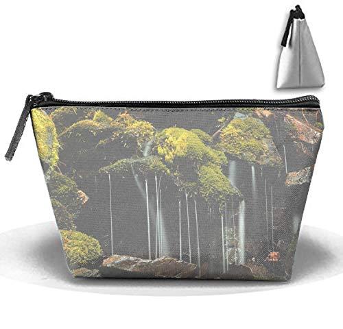 jiajufushi Mossy Waterfall in Seward Cosmetic Bag Crazy Young Trapezoidal Strorege Bag Creative Cosmetic ()