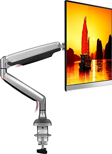 ONKRON Monitor Desk Mount Full Motion with Mount and Gas Spring Fully Adjustable Mounting Arm for Computer Monitors 23'' - 32 Inch LED LCD Flat Panel TVs up to 19.8 lbs G100 Silver