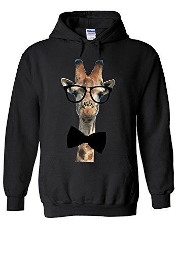 Giraffe Geek Nerd Glasses Bow Tie Novelty Black Men Women Unisex Hooded Sweatshirt - Bow Glasses With Geek