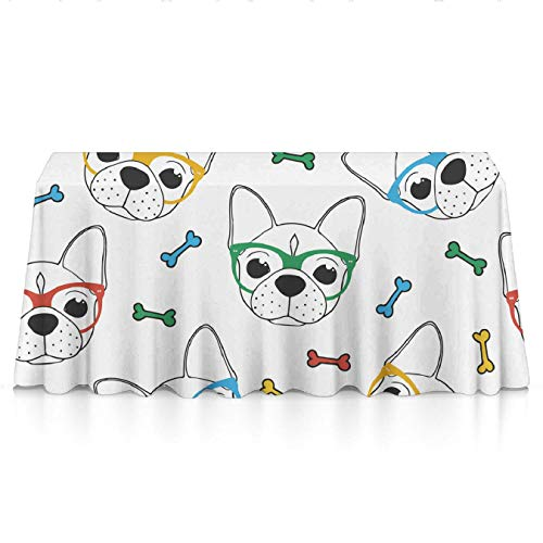 (KYWYN (English Bulldog Glasses) Water Resistance Dining Table Cloth for Kitchen/Home/Hotel/Cafe/Restaurant, Heat Moisture Resistance Indoor Outdoor Table Covers - 60x120)