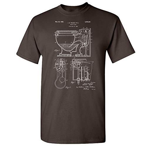 Toilet T-Shirt, Plumber Gift, Plumbing, Toilet Blueprint, Vintage Bathroom, Lavatory Design, Water Closet, Washroom Dark Chocolate (Medium)