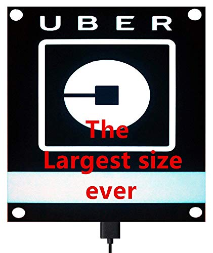 DTXDTech UBER Sign Glow LED Light Logo Decal Stickers with Bigger Size High Light 4 Larger Suction Cup Removable for Rideshare Driver UBER Light Up Sign