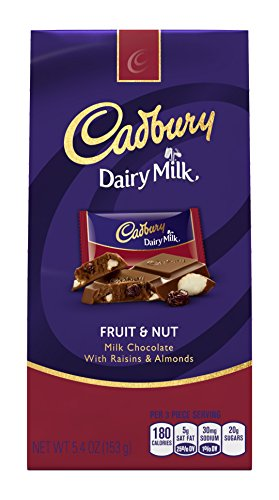Almond Nut Milk (CADBURY DAIRY MILK Fruit & Nut Chocolate Candy Bar, Milk Chocolate with Raisins and Almonds, 5.4 Ounce Package)