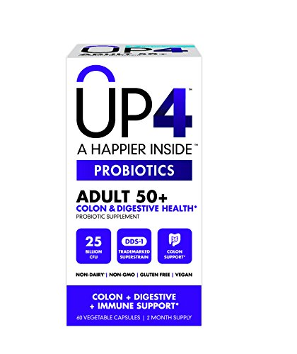 UP4 Adult 50+ Probiotic Supplement – Colon, Digestive, and Immune Health – 25 Billion CFU Guaranteed – DDS-1 Trademarked Superstrain – Multistrain - Non-GMO, Gluten Free, Vegan - 60 Capsules