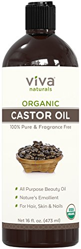 Viva Naturals Certified Organic Castor Oil (16 oz) – 100% Pure and Hexane Free + BONUS Mascara Kit Included, Perfect for Hair Care, Eyelashes and Brows by Viva Naturals (Image #1)