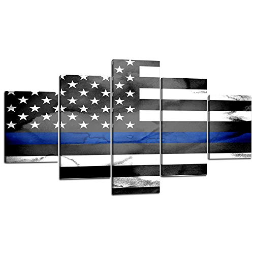 You Hong Modern American Flag Wall Art 5 Panels Retro Vintage Blue USA Flag American Home Decorative Artwork with Wooden Frame for Living Room Decor - 70''W x 40''H