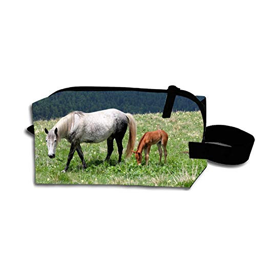 HORSE AND FOAL Pencil Case Pouch Waterproof Multi-purpose Storage Tote Tools Nylon Bag Cosmetic Makeup Bags With Zipper And Hanging Loop
