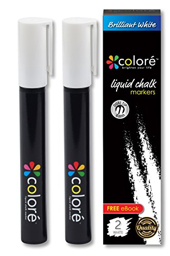 Colore Brilliant White Liquid Chalk Markers - Best For Restaurant Menu Board, Glass, Whiteboard, Kitchen Chalkboard Paint, Mirror, Blackboard, Windows - Great Chalk Ink Pens For Kids & Artist - 2 Pack ()