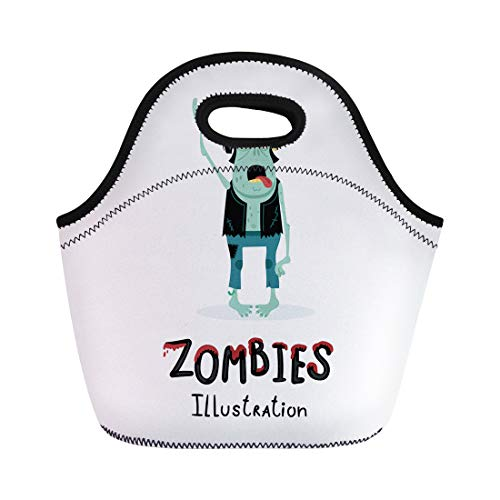 Semtomn Lunch Bags Punk Rocker Zombie Character Rock Hand Gesture in Cartoon Neoprene Lunch Bag Lunchbox Tote Bag Portable Picnic Bag Cooler Bag ()