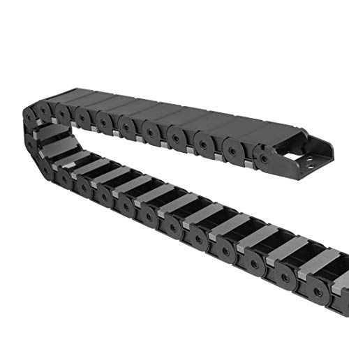 uxcell Drag Chain Cable Carrier Open Type with End Connectors 18X37mm 1 Meter Plastic for Electrical CNC Router Machines Black