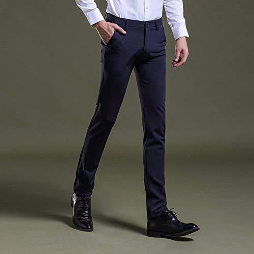Pantalones Blau Delgados Elegantes Del Recto Cintura De Navy Hombres Traje Negocio Casuales Alta Cómodo Battercake 1 Los Largos Fqgdqaw