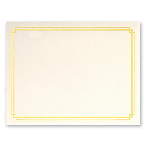 Cream Specialty Certificates, 50 Count Blank, Gold Foil Border on 38 lb. Paper Sheets, 8.5 x 11 Inches, Laser and Inkjet Compatible