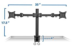 Mount-It! Dual LCD Monitor Desk Mount Stand Heavy Duty Fully Adjustable Arms Fits  2 / Two Screens up to 27\