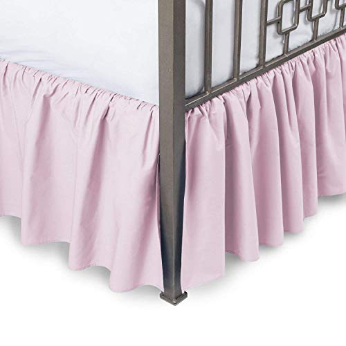 (ARlinen Ruffle Bed Skirt-Full Size Pink Solid Bed Skirt Soft Brushed Microfiber Bed Wrap with Platform- Easy Fit Gathered Style 3 Sided Coverage Full Bedskirts for 18 Inch Drop Mattress.)