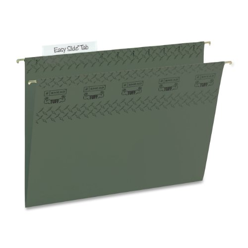 (Smead TUFF Hanging File Folder with Easy Slide Tab, 1/3-Cut Sliding Tab, Letter Size, Standard Green, 20 per Box (64036))
