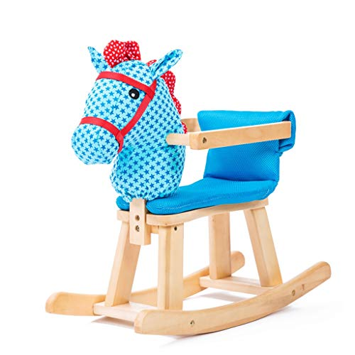 Shake Baby Horse Children's Wooden Rocking Horse Solid Wood Music Rocking Horse Baby Toy Rocking Chair Solid Wood Detachable (Color : Blue)