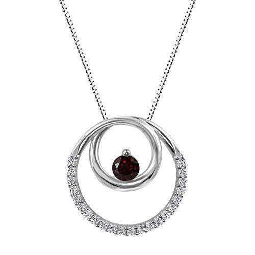 - Sterling Silver 925 Garnet and Lab-Created White Sapphire Circle Pendant Necklace, 18