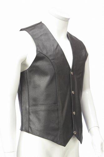 Chaleco de cuero verdadero clásico Mens/moto cintura abrigo. Tamaño grande.