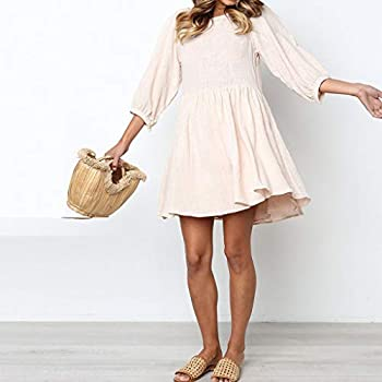 Women's Plus Size Shift Dress Slash Neck Solid Color Tassel Short Sleeve Dress