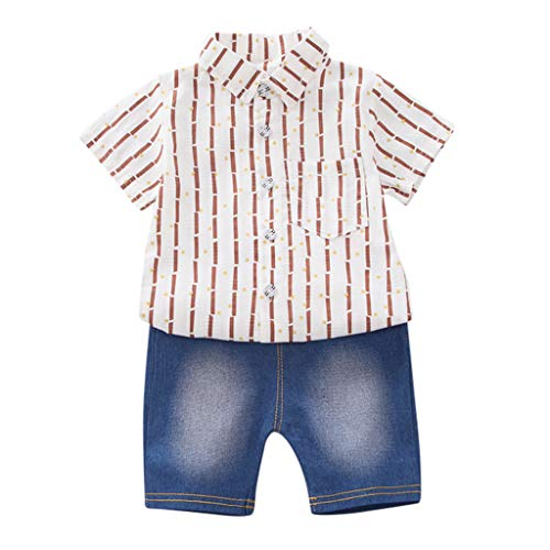 Toddler Baby Boy Short Sleeve Dot Stripe Pattern T-Shirt Tops+ Denim Pants Set,6M-3Y,SIN vimklo White